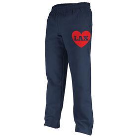 Girls Lacrosse Fleece Sweatpants - Lax Heart