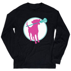 Girls Lacrosse Tshirt Long Sleeve - Lacrosse Dog with Girl Stick