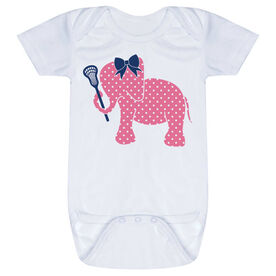 Girls Lacrosse Baby One-Piece - Lax Elephant with Bow
