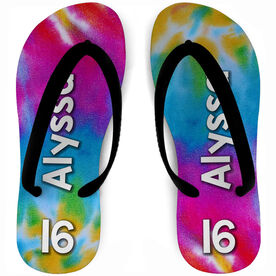 Girls Lacrosse Flip Flops Personalized Tie Dye
