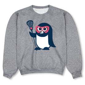 Girls Lacrosse Crew Neck Sweatshirt - Chillax Penguin