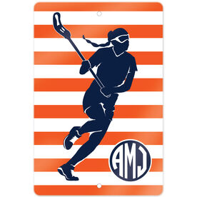 """Girls Lacrosse 18"""" X 12"""" Aluminum Room Sign Lax Girl Monogram with Stripes"""