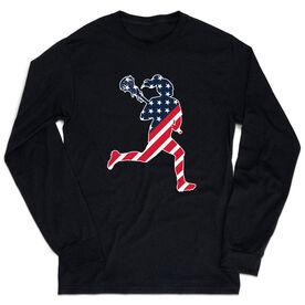 Girls Lacrosse Tshirt Long Sleeve - Play Lax for USA