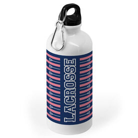 Lacrosse 20 oz. Stainless Steel Water Bottle - Word With Stripes and Sticks