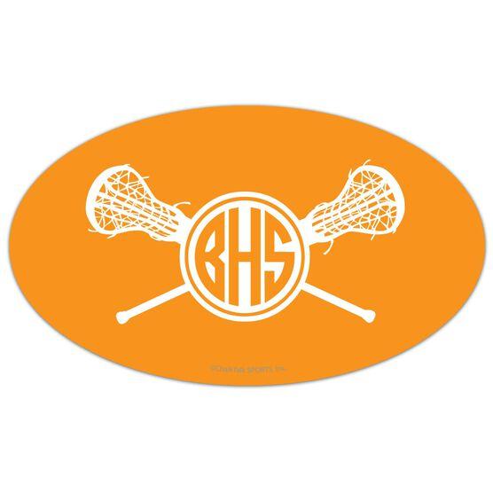 Girls Lacrosse Oval Car Magnet Monogram