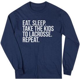 Lacrosse Long Sleeve Tee - Eat Sleep Take The Kids To Lacrosse