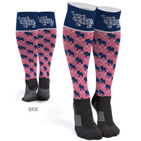 Girls Lacrosse Printed Knee-High Socks - Lax Elephant