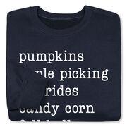 Girls Lacrosse Crew Neck Sweatshirt - Favorite Fall Things