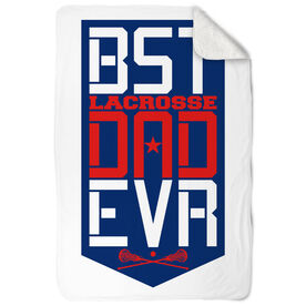 Girls Lacrosse Sherpa Fleece Blanket - Best Dad Ever Shield