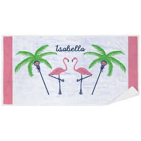 Girls Lacrosse Premium Beach Towel - Palm Tree & Flamingo