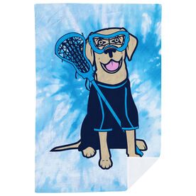 Girls Lacrosse Premium Blanket - Lily the Lacrosse Dog with Tie-Dye