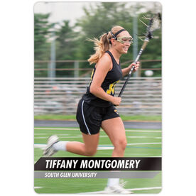 "Girls Lacrosse 18"" X 12"" Aluminum Room Sign - Classic Vertical Photo"