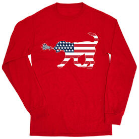 Girls Lacrosse Tshirt Long Sleeve - Patriotic Lula The Lax Dog