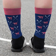 Girls Lacrosse Printed Mid-Calf Socks - LuLa the Lax Dog with Crossed Sticks