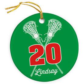 Girls Lacrosse Porcelain Ornament Personalized Crossed Girl Sticks