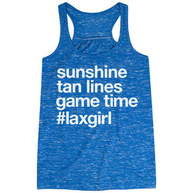 Girls Lacrosse Flowy Racerback Tank Top - Sunshine Tan Lines Game Time