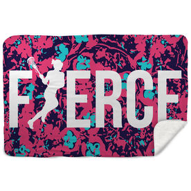 Girls Lacrosse Sherpa Fleece Blanket - Fierce