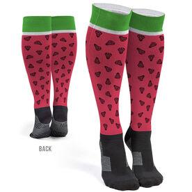 Girls Lacrosse Printed Knee-High Socks - Watermelon Lax