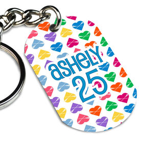 Lacrosse Printed Dog Tag Keychain Personalized Heart Pattern