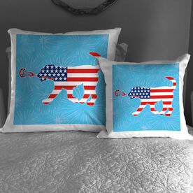 Girls Lacrosse Throw Pillow Patriotic LuLa The Lax Dog