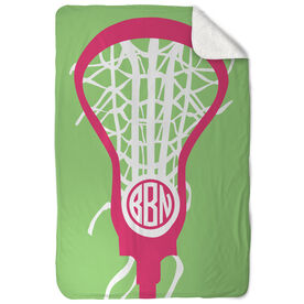 Girls Lacrosse Sherpa Fleece Blanket - Monogrammed Lax Is Life
