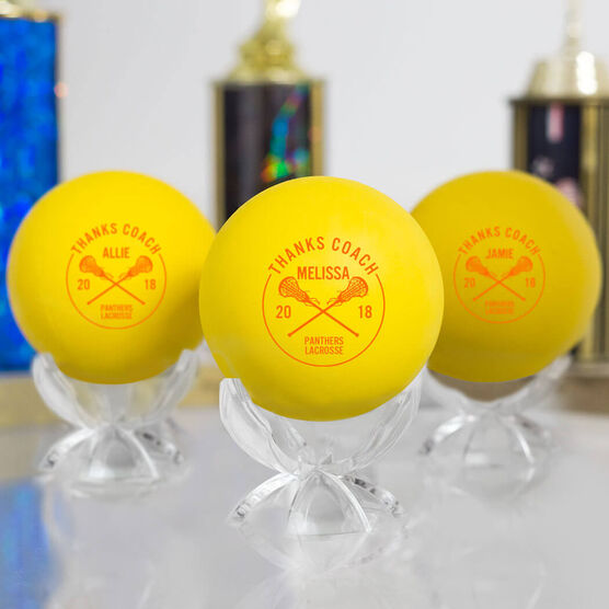 Personalized Thanks Coach with Year Lacrosse Ball (Yellow Ball)