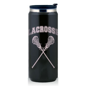 Stainless Steel Travel Mug Lacrosse Girls Crossed Sticks