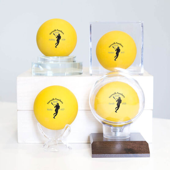 Personalized Girls Lacrosse Ball - Player with Team Name (Yellow Ball)