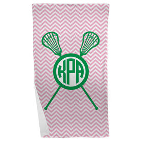 Girls Lacrosse Beach Towel Monogram with Crossed Sticks and Chevron