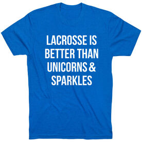 Girls Lacrosse Short Sleeve T-Shirt - Lacrosse is better than Unicorns