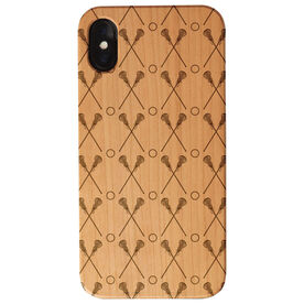 Girls Lacrosse Engraved Wood IPhone® Case - Crossed Sticks Pattern