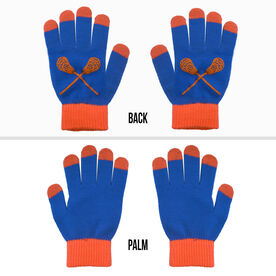 Lacrosse Touchscreen Knit Gloves - Blue/Orange