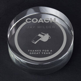 Personalized Engraved Crystal Gift - Coach Whistle