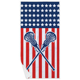 Girls Lacrosse Premium Beach Towel - USA Lax Girl