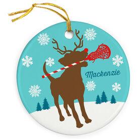 Girls Lacrosse Porcelain Ornament Jingles the Lax Reindeer Dog