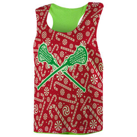Girls Lacrosse Racerback Pinnie - Candy Canes with Lacrosse Sticks