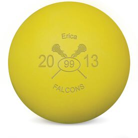 Lacrosse Crossed Sticks Female Laser Engraved Lacrosse Ball (Yellow Ball)