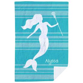 Girls Lacrosse Premium Blanket - Personalized Lax Mermaid