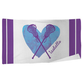 Lacrosse Beach Towel Watercolor Heart