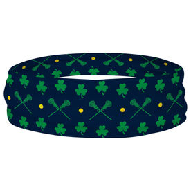 Girls Lacrosse Multifunctional Headwear - Crossed Sticks and Shamrocks Pattern RokBAND