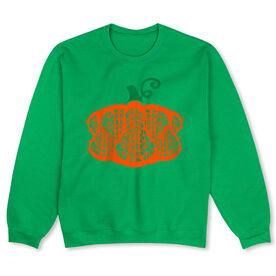 Girls Lacrosse Crew Neck Sweatshirt - Lax Stick Pumpkin