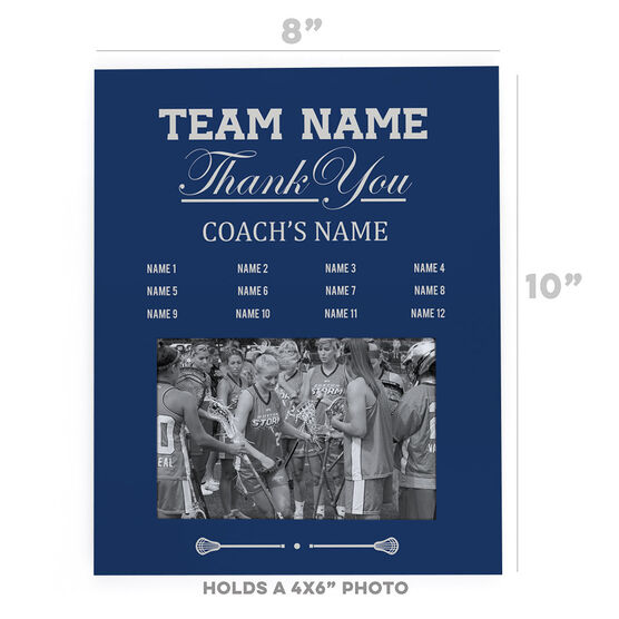 Girls Lacrosse Photo Frame - Thank You Coach Roster