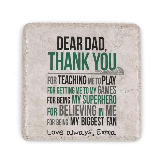 Girls Lacrosse Stone Coaster - Dear Dad (Autograph)