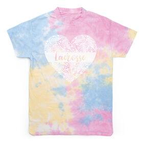 Girls Lacrosse Short Sleeve T-Shirt - Lacrosse Heart Tie Dye