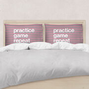 Girls Lacrosse Pillow Case - Practice Game Repeat