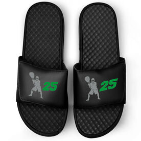 Lacrosse Black Slide Sandals - Goalie With Number