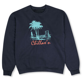 Girls Lacrosse Crew Neck Sweatshirt - Chillax'n Beach Girl