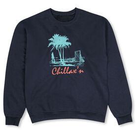 Girls Lacrosse Crew Neck Sweatshirt - Chillax'n Beach Girl