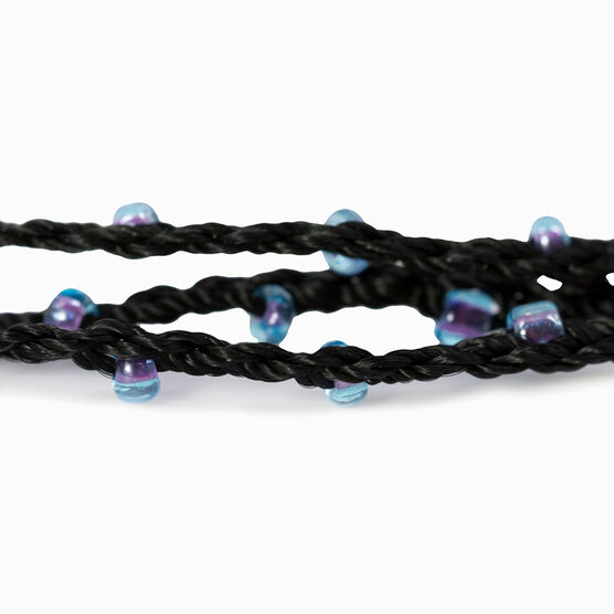 Girls Lacrosse Beaded Wrap Bracelet - Stick with Cubic Zirconia