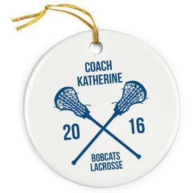 Girls Lacrosse Porcelain Ornament Personalized Coach